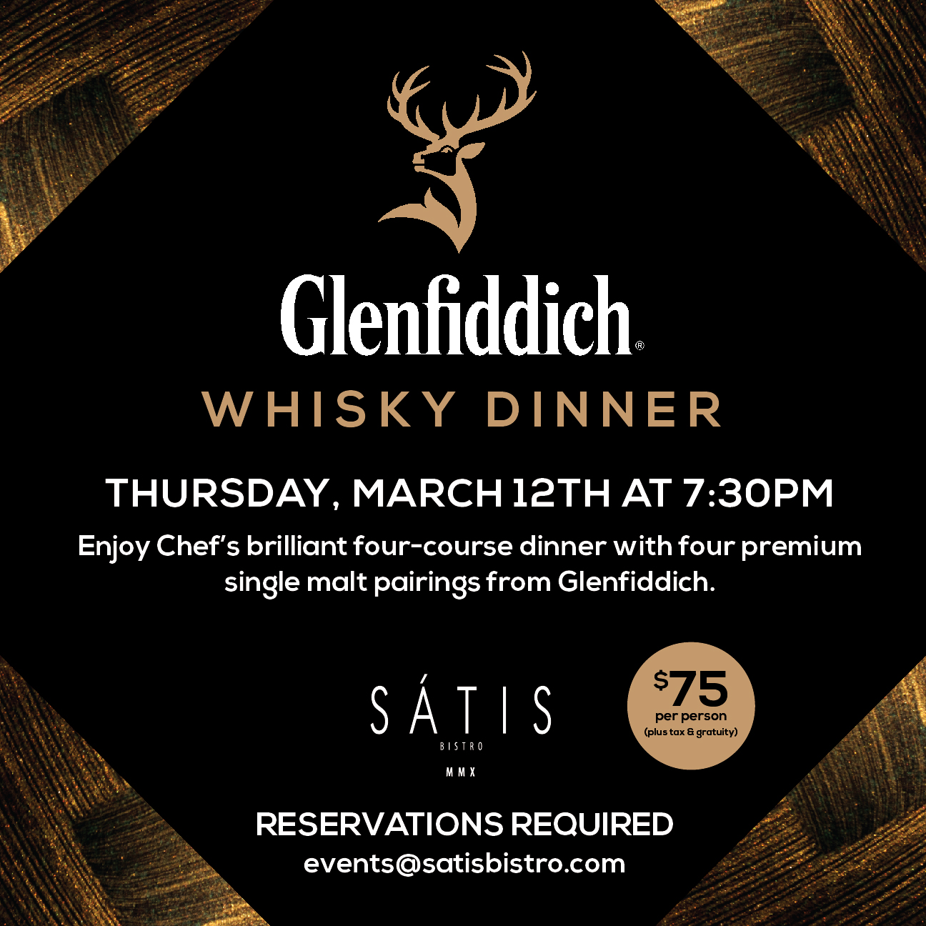 Satis Bistro Glenfiddich Whisky Dinner